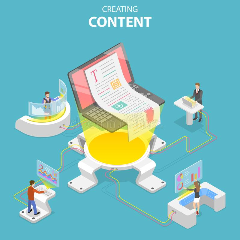 创造内容的平的等量传染媒介的概念,copywriting,创造性的文字 库存例证