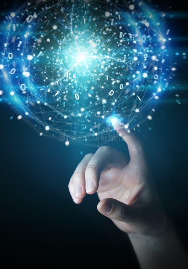 创造可更新和能承受的eco能量的商人手用电子球形3D翻译 库存例证