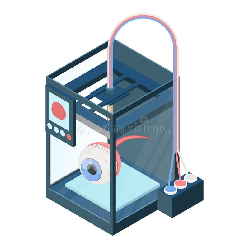 创造在三维打印机的人工眼导航例证 向量例证