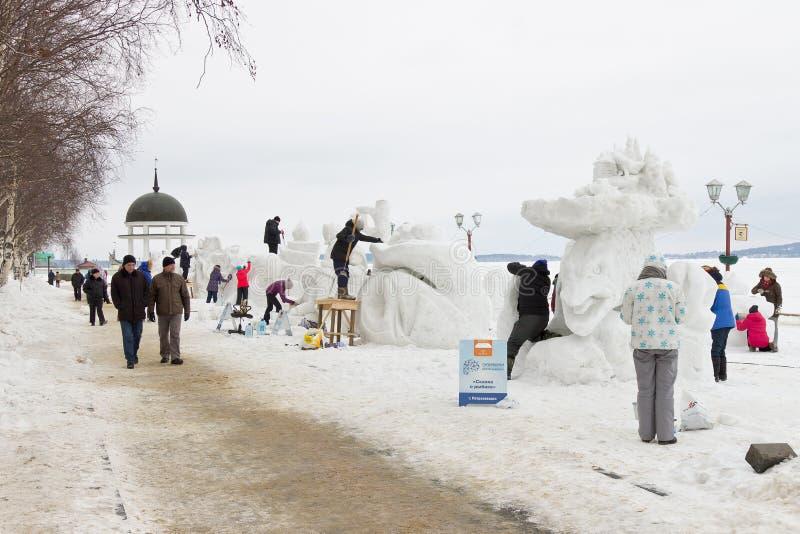 创造在国际冬天节日` Hyperborea `的雪雕 库存图片