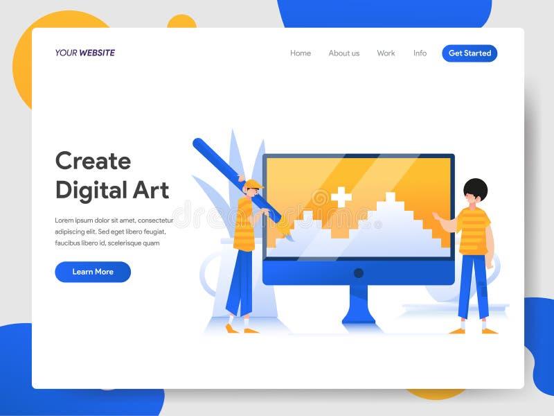创造在计算机例证概念的数字艺术登陆的页模板  网页设计的现代设计概念为 向量例证