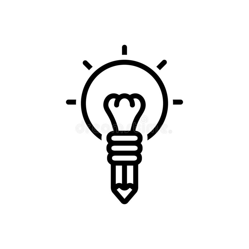 创造性、聪明和天才的黑线象 向量例证