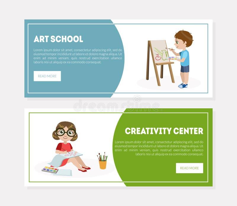 创造性中心,艺术学校横幅,登陆的页模板,画和绘在艺术课传染媒介的孩子 皇族释放例证