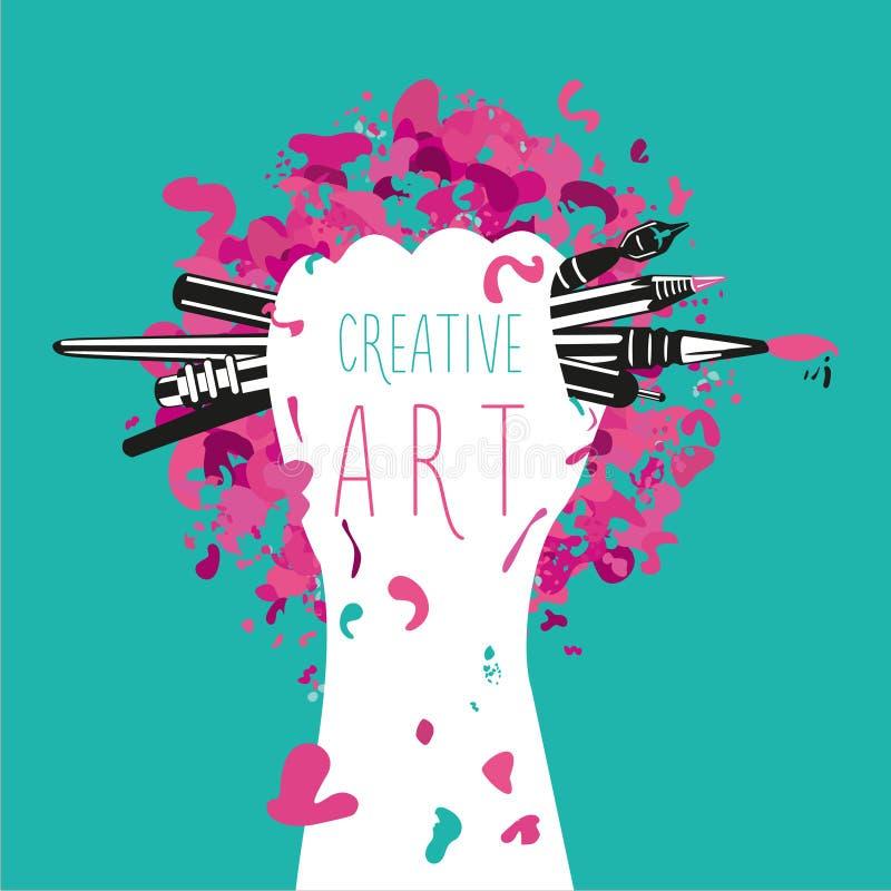 创造性和艺术 手拿着艺术工具 刺激海报 向量例证
