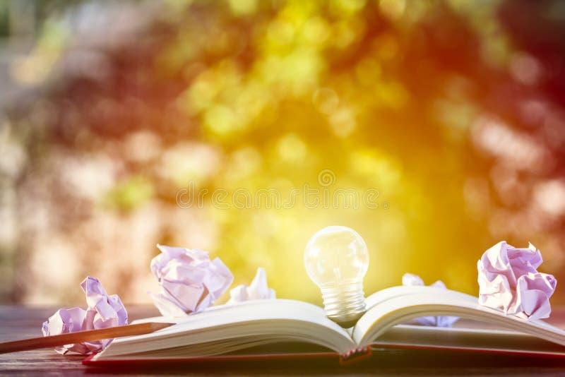 创造性思为,想法,企业概念:在操作投入的电灯泡 库存图片