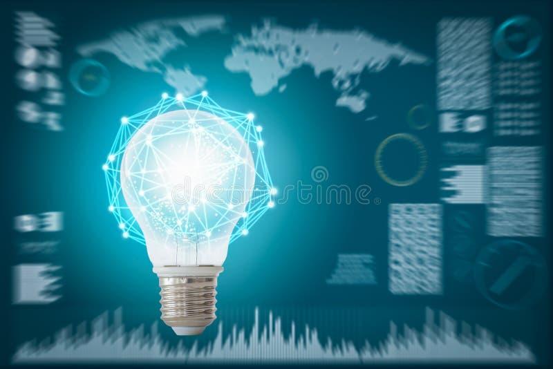 创造性抽象技术背景,创新,想法和未来派想法的概念 免版税库存照片