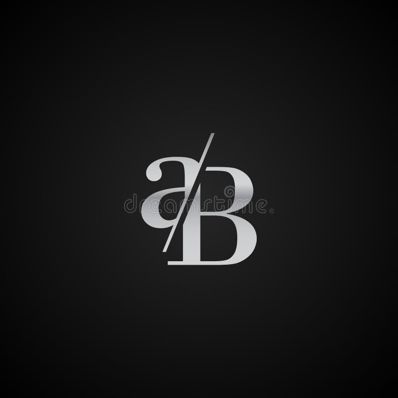 创造性现代独特的AB首写字母典雅的商标模板的传染媒介 向量例证