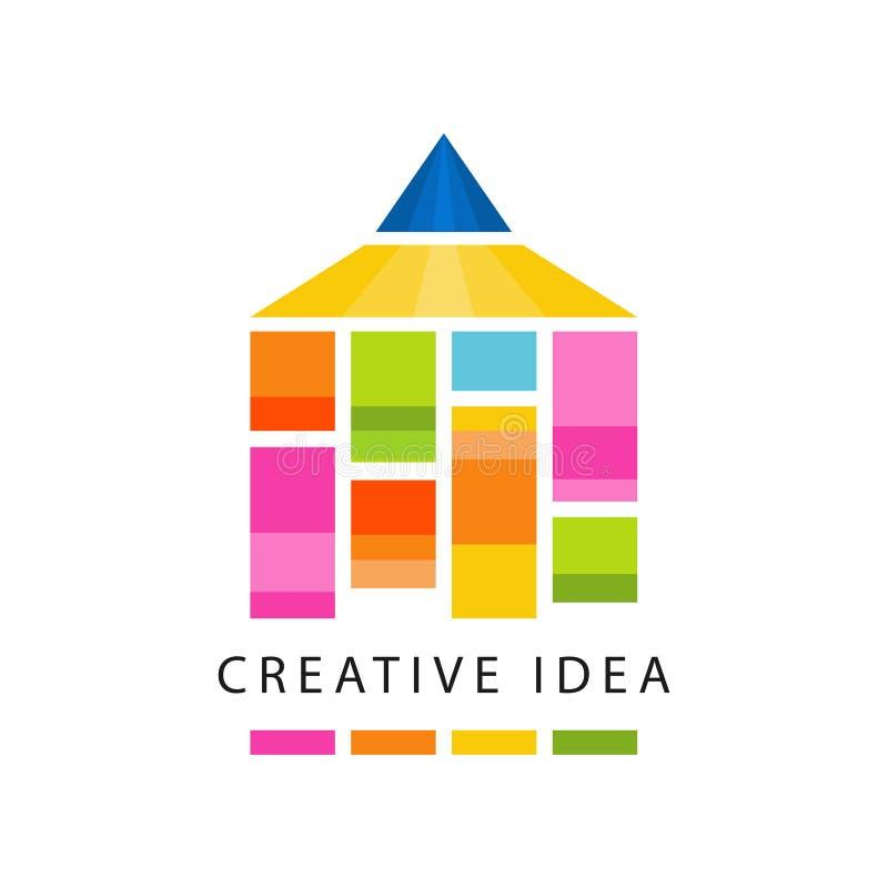 创造性的与抽象颜色铅笔的想法商标原始的模板 教育事务,托儿所标签 皇族释放例证