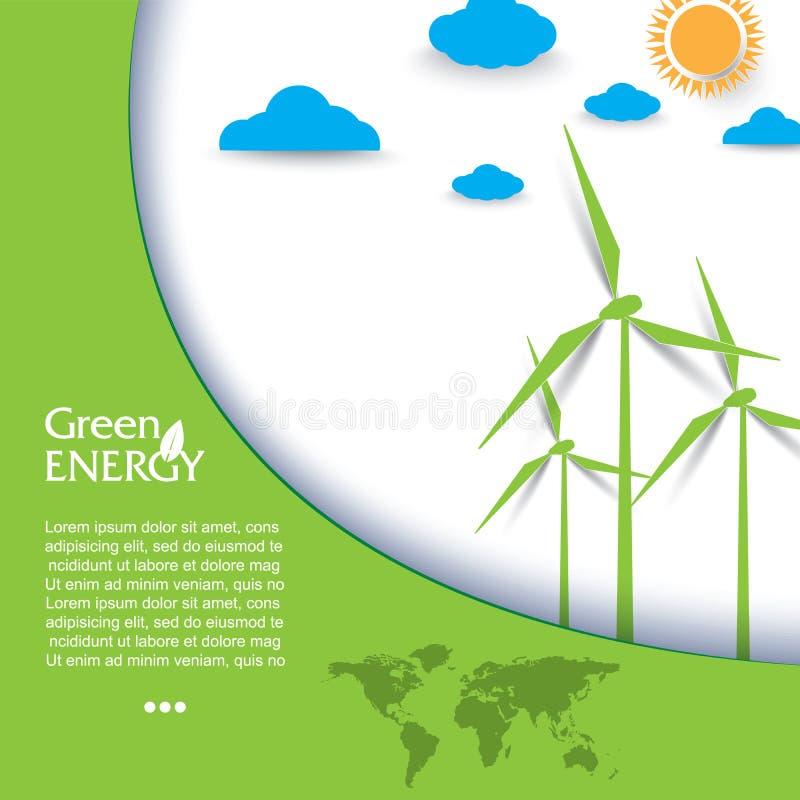 创造性的与风轮机的传染媒介设计再生能量 皇族释放例证