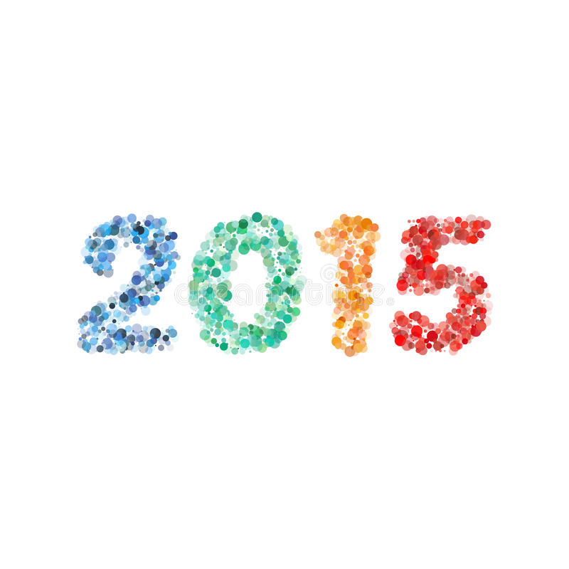 创造性的五颜六色的圈子样式新年好2015设计传染媒介 库存例证