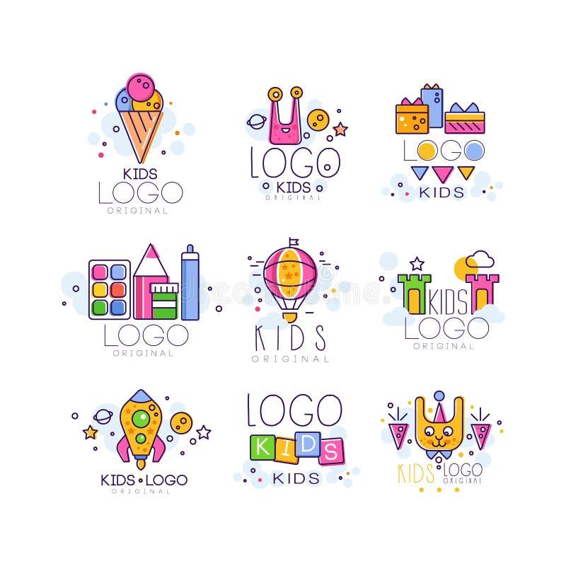 创造性的五颜六色的孩子商标在线型设置了 冰淇凌,外籍人,礼物,气球,城堡,火箭,立方体,兔宝宝,油漆 库存例证
