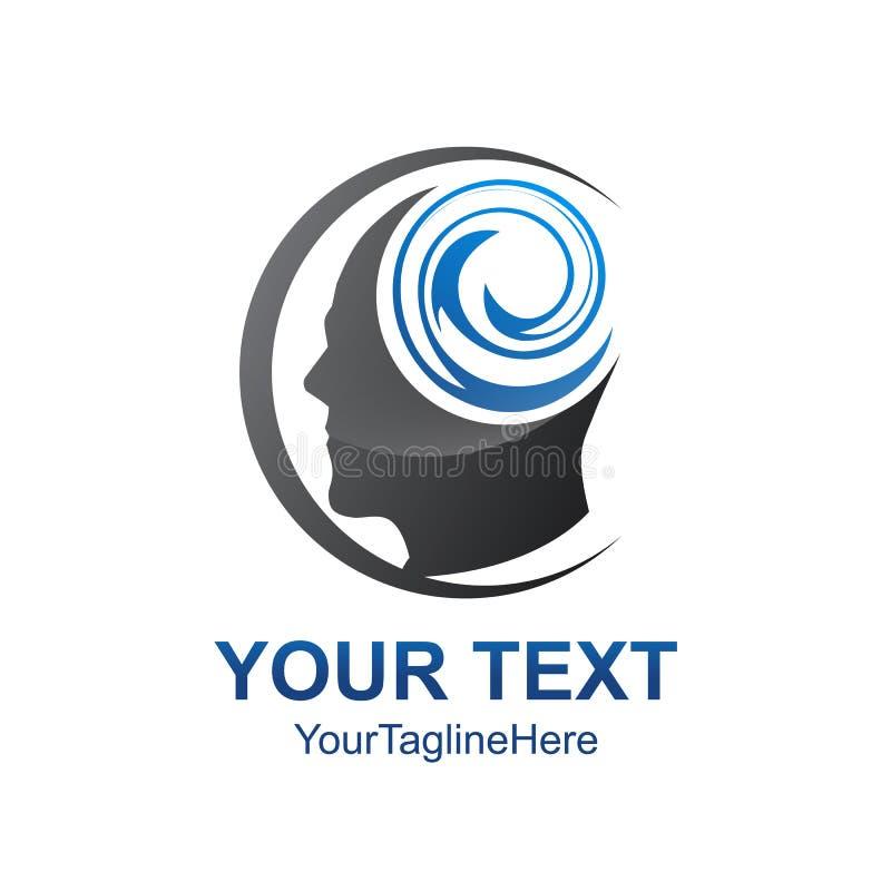 创造性的人头传染媒介商标模板设计 学会, Educa 向量例证