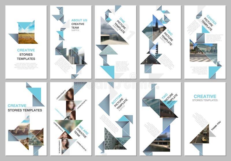 创造性的人脉故事设计,垂直的横幅或飞行物模板与五颜六色的三角origami纸 库存例证