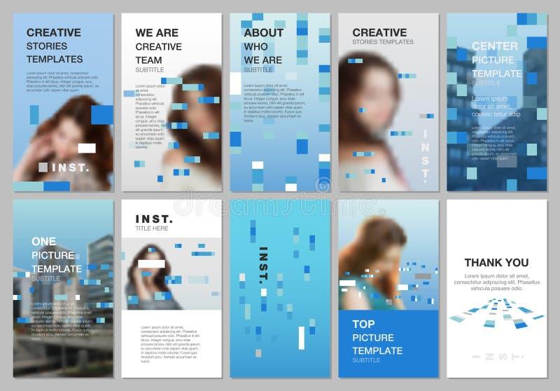 创造性的人脉故事设计,垂直的横幅或飞行物模板与五颜六色的元素,长方形,梯度 皇族释放例证