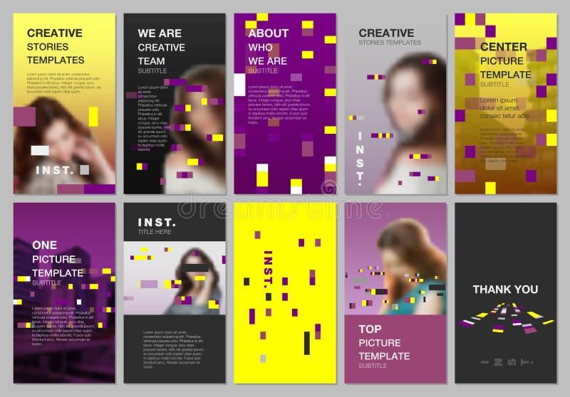 创造性的人脉故事设计,垂直的横幅或飞行物模板与五颜六色的元素,长方形,梯度 向量例证