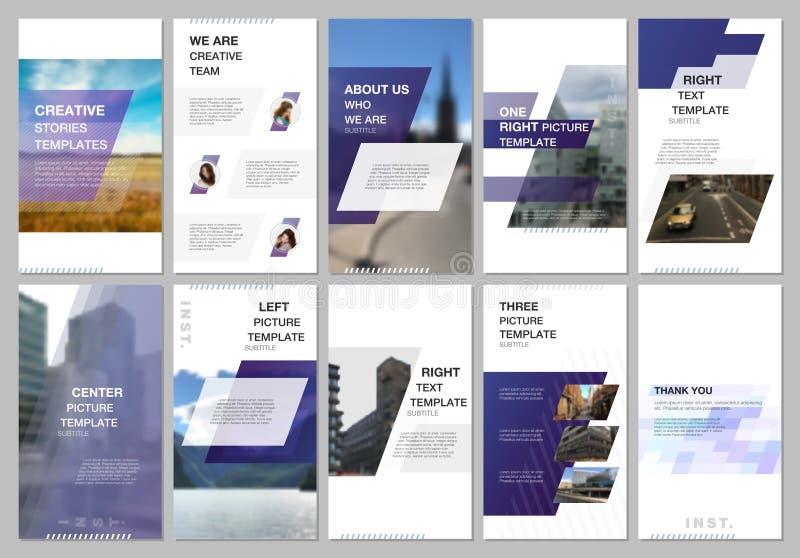 创造性的人脉故事设计,垂直的横幅或飞行物模板与蓝色色的五颜六色的梯度 皇族释放例证