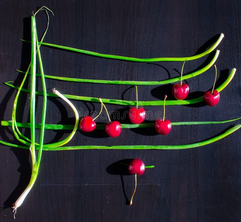 创造性的从红色当有生日快乐曲调笔记的音乐职员被安排的樱桃和大葱的食物平的位置  免版税库存图片