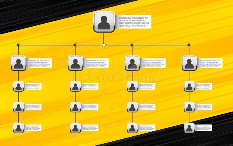 创造性的传染媒介现代样式例证公司组织系统图幻灯片隔绝在背景 企业工作流程图 向量例证