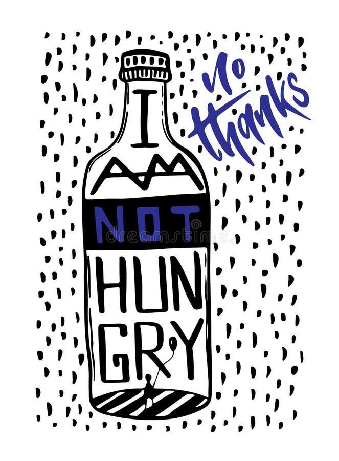 创造性的传染媒介字法 诱导手墙壁海报的在上写字的行情 可印的例证 我不饿 没有酒精C 皇族释放例证