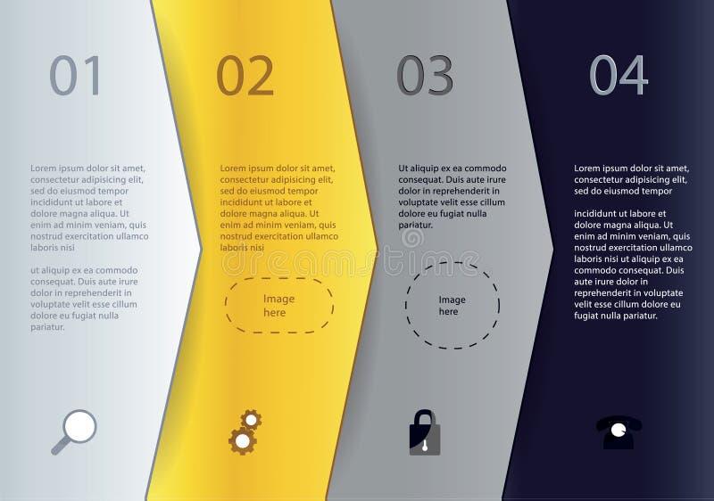 创造性的传染媒介模板-四个箭头用不同的颜色与 向量例证