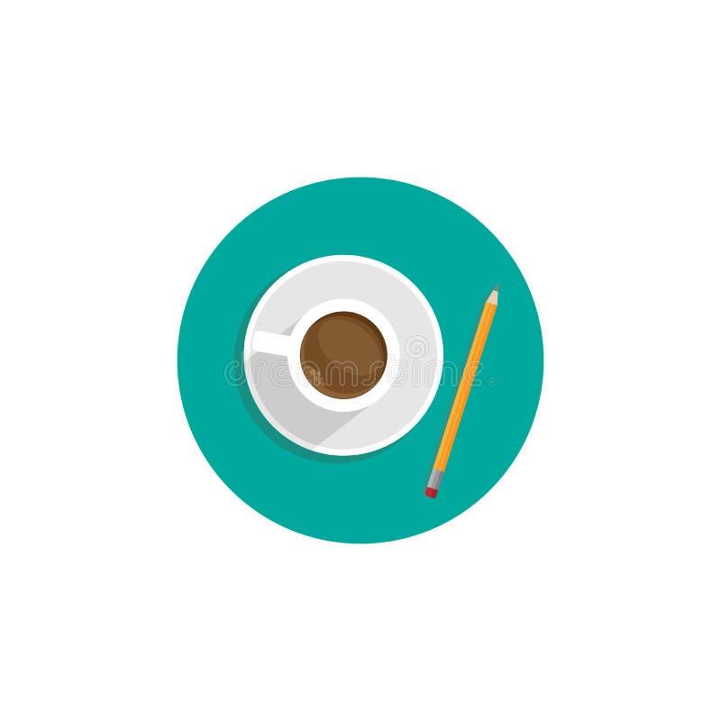 创造性的作家工作场所象 在绿松石的咖啡和铅笔盘旋 库存例证