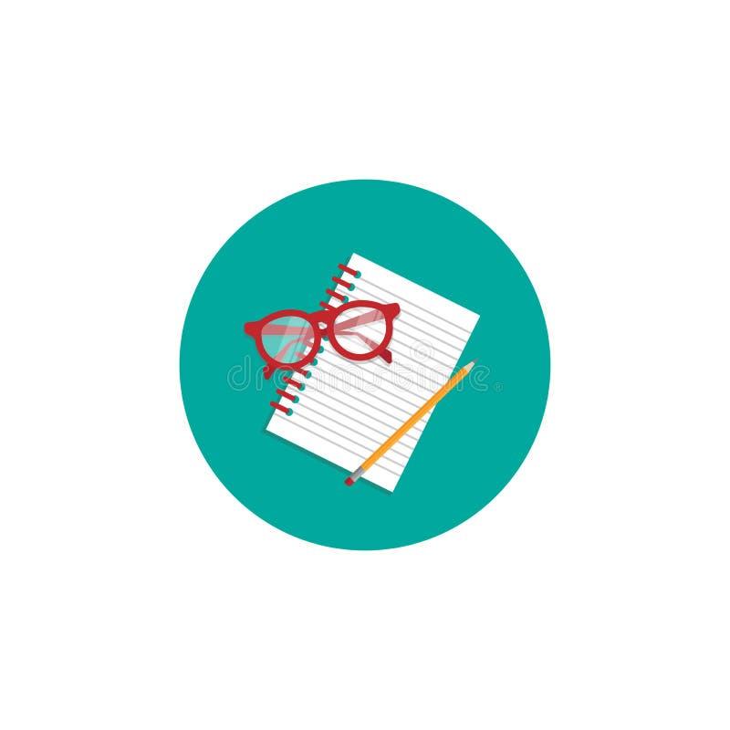 创造性的作家工作场所象 笔记本、红色玻璃和铅笔在绿松石盘旋 皇族释放例证