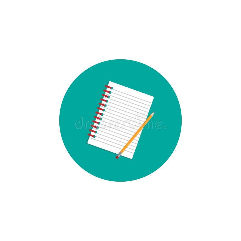 创造性的作家工作场所象 笔记本和铅笔在绿松石圈子 皇族释放例证