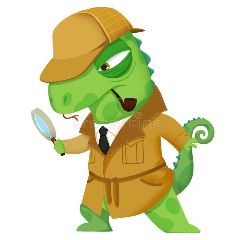 创造性的例证和创新艺术:侦探蜥蜴-字符设计 向量例证