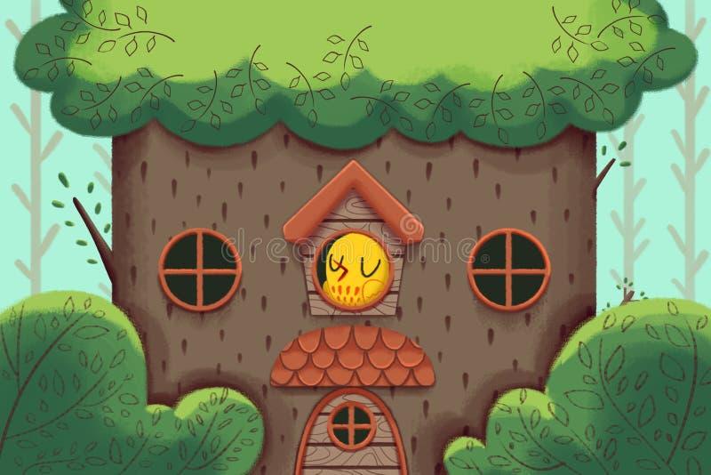 创造性的例证和创新艺术:鸟的家,豪华大树上小屋 向量例证