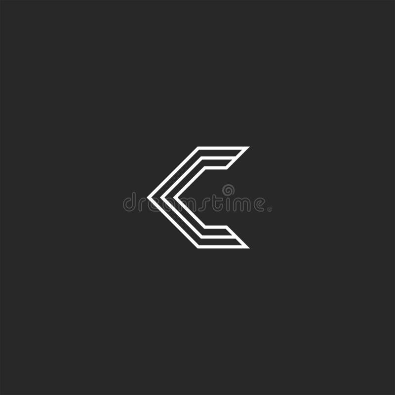 创造性的信件C组合图案商标,稀薄的平行的线设计元素 皇族释放例证