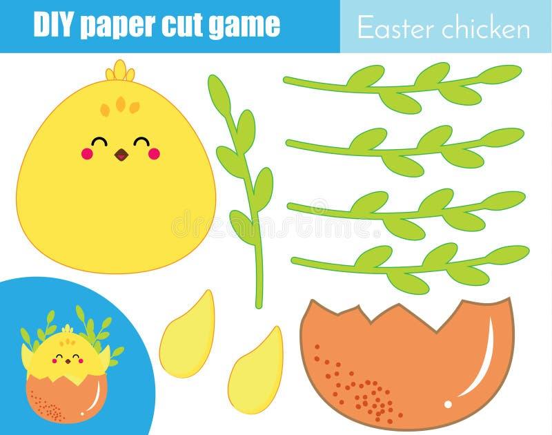 创造性的儿童教育比赛 纸裁减活动 做与胶浆和剪刀的一只逗人喜爱的复活节鸡 皇族释放例证