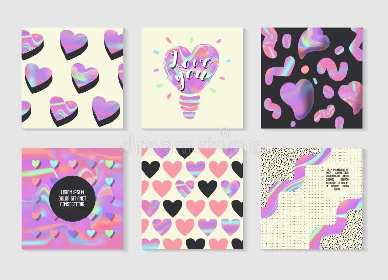 创造性的全息照相的海报设置了几何形状和浪漫元素 横幅的,卡片,邀请时髦行家设计 库存例证