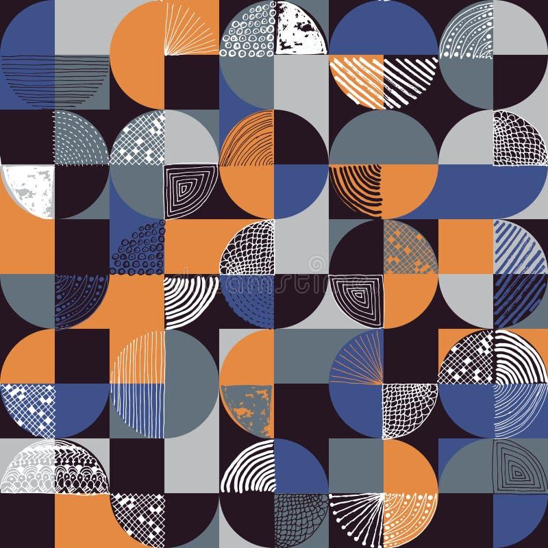 创造性的几何和手拉的无缝的样式 皇族释放例证