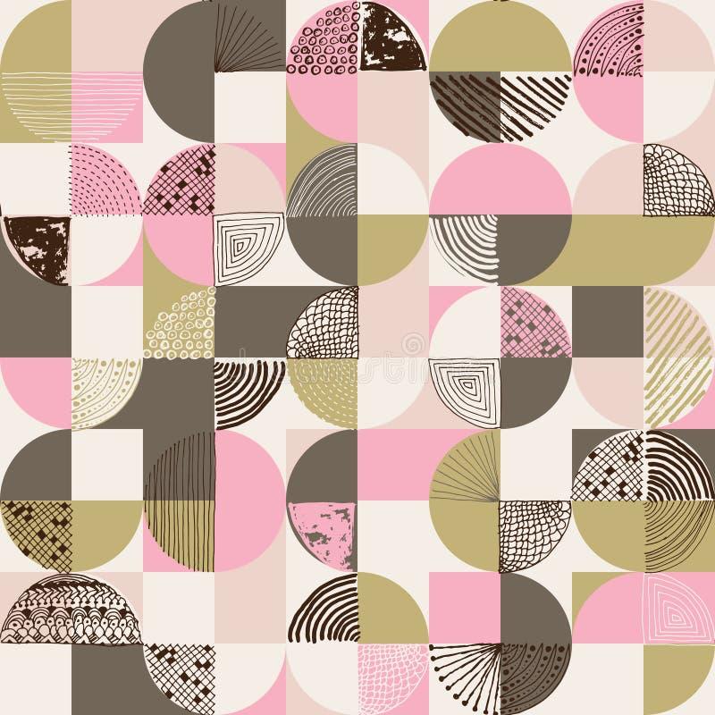 创造性的几何和手拉的无缝的样式 库存例证