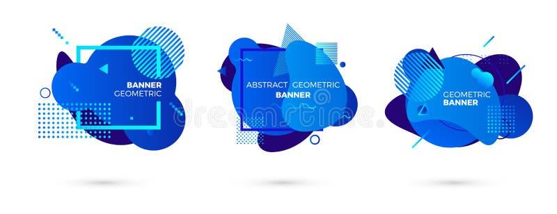 创造性的几何横幅模板 五颜六色的蓝色梯度形状 Modert图表元素 ?? 库存例证