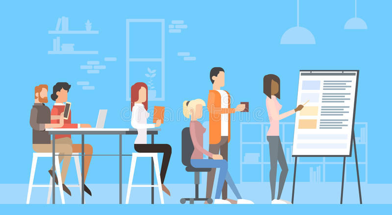创造性的办公室中心人民坐的书桌运作的介绍活动挂图,训练大学的学生 向量例证
