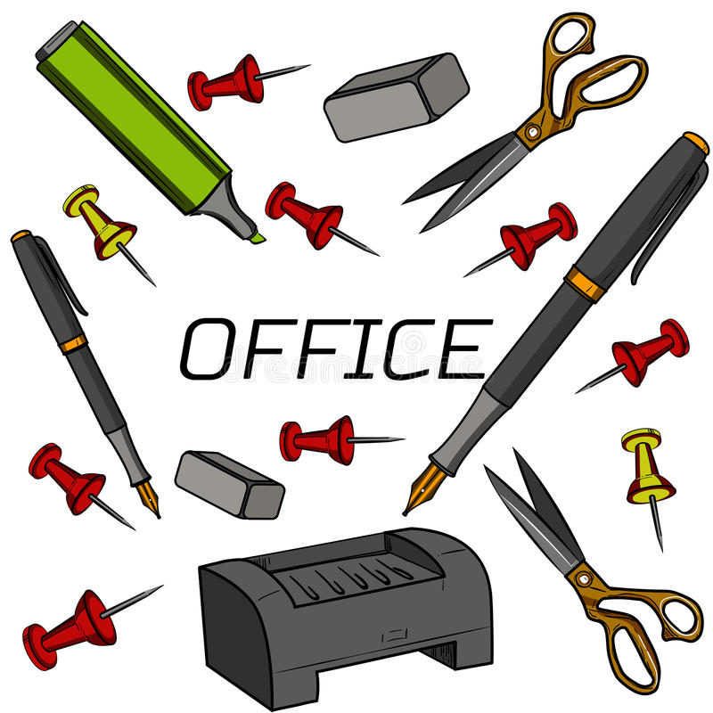 创造性的办公室室内部的色的概念 库存例证