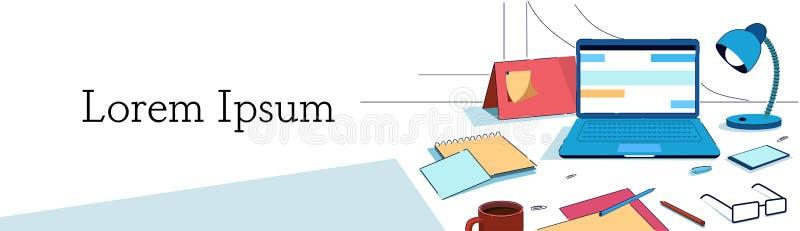 创造性的办公室家工作场所膝上型计算机灯智能手机日历玻璃沙纸板料笔记固定式书桌事务 库存例证