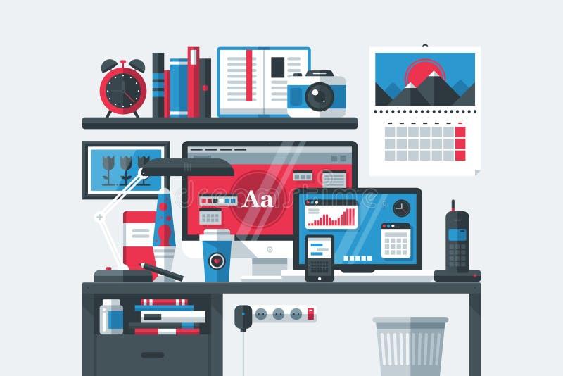 创造性的办公室工作区内部 台式计算机,膝上型计算机,木桌,垃圾桶,与办公室工具的架子 向量例证