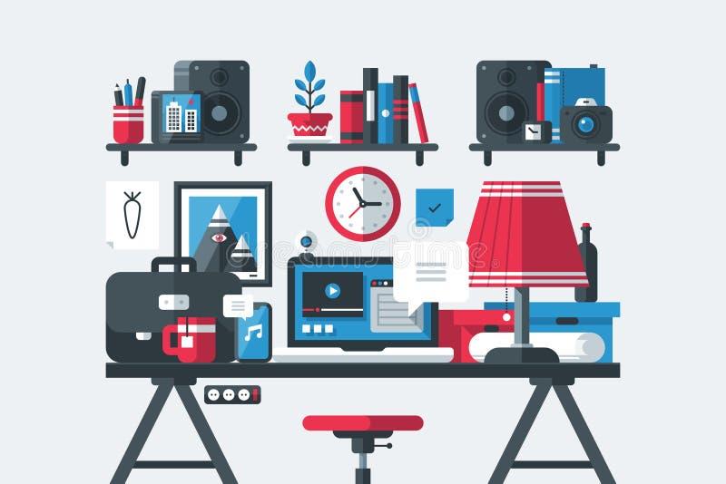 创造性的办公室工作区内部 膝上型计算机、书架、简单的木桌、灯有树荫的,箱子和办公室材料 皇族释放例证