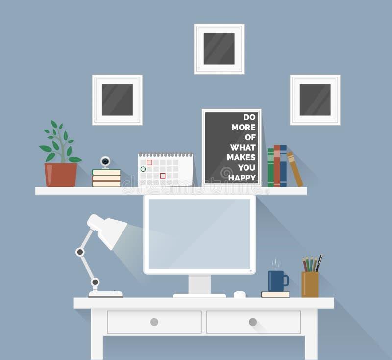 创造性的办公室工作区用设备,元素,对象 库存例证