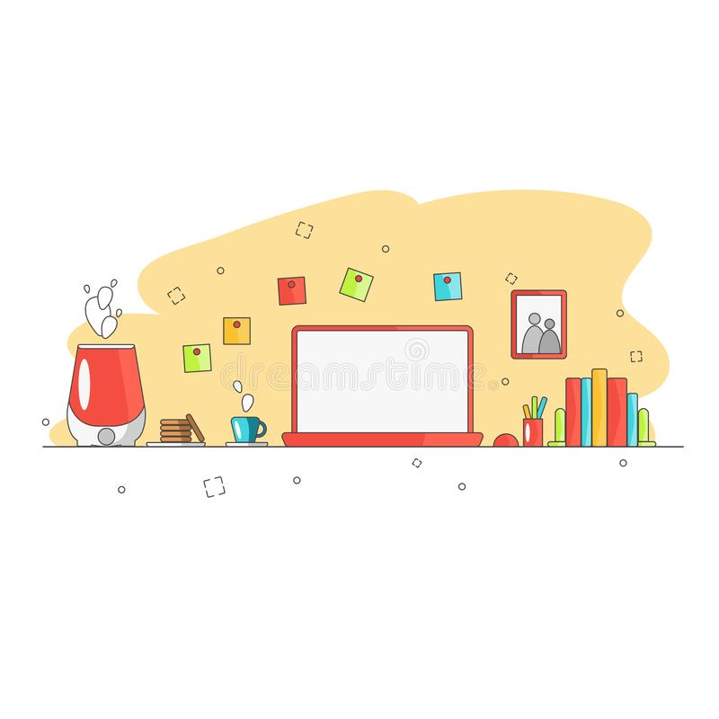 创造性的办公室工作区的平的样式现代设计概念 企业工作流程项目和元素的象汇集 皇族释放例证