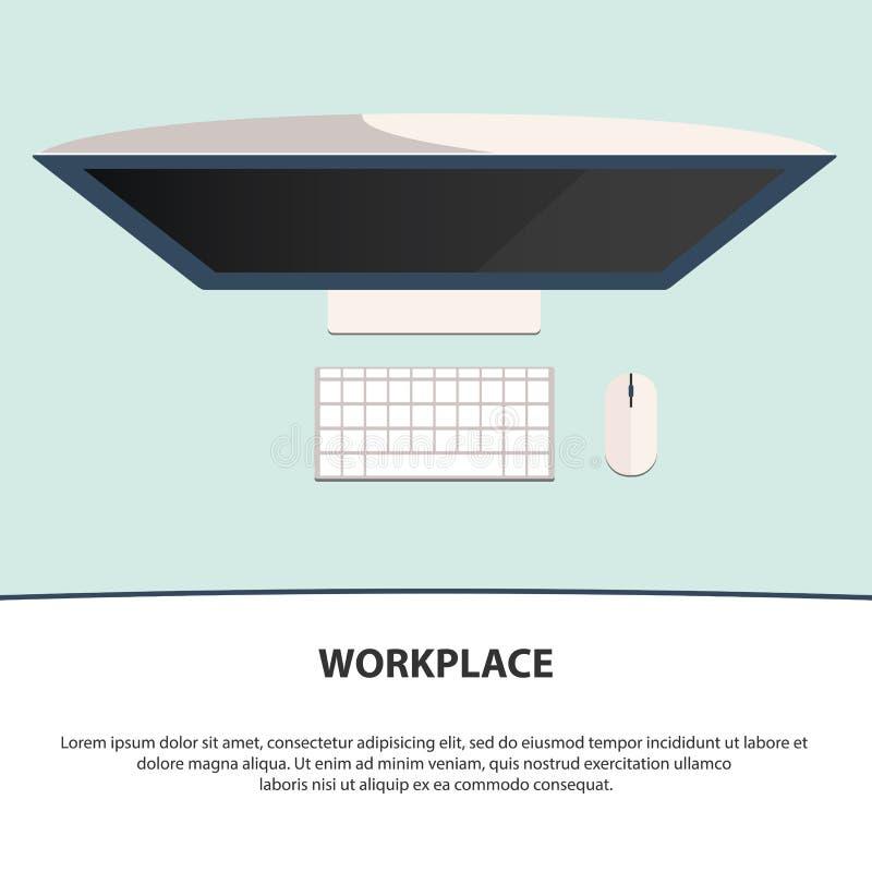 创造性的办公室工作区的平的样式现代设计概念 工作场所设计 库存例证