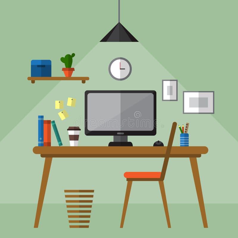 创造性的办公室工作区 向量例证