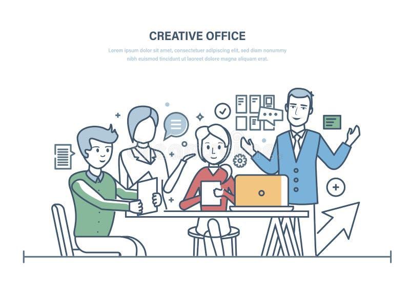 创造性的办公室 见面的工作者,办公室企业队,合作 库存例证