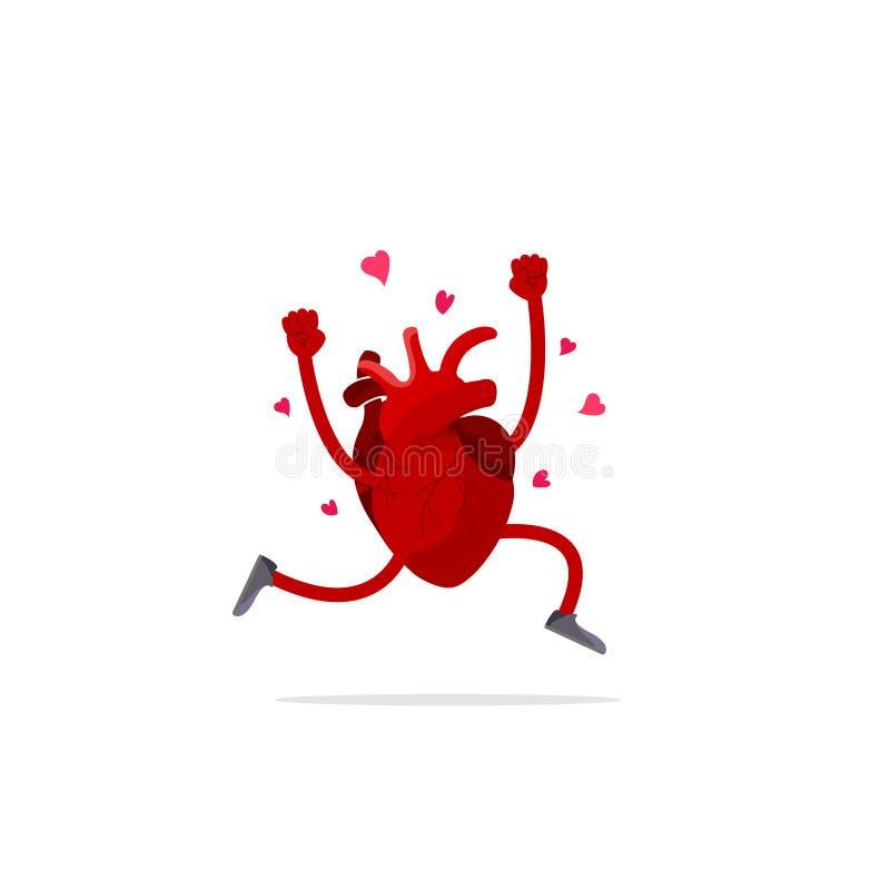 创造性的医学概念 在平的样式被隔绝的例证的解剖人的心脏动画片设计象 皇族释放例证