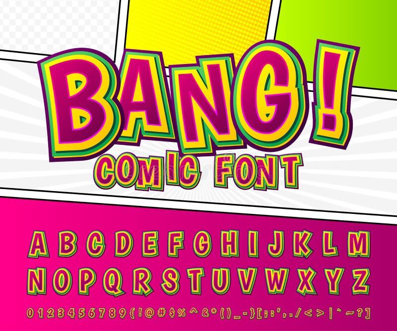 创造性的可笑的字体 在样式流行艺术的传染媒介字母表 皇族释放例证