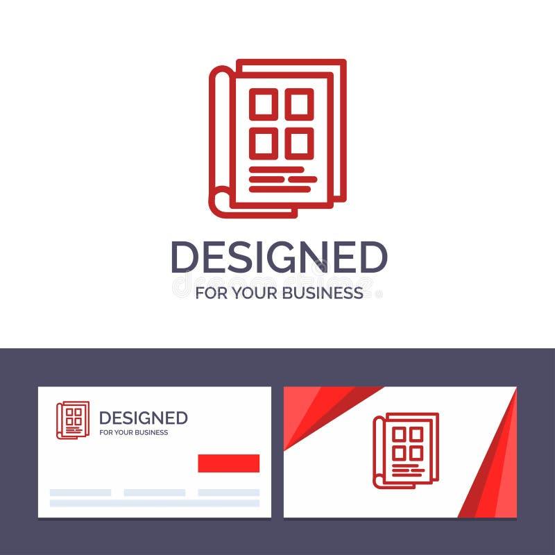 创造性的名片和商标模板书,报纸,纸,笔记本,电话本传染媒介例证 库存例证