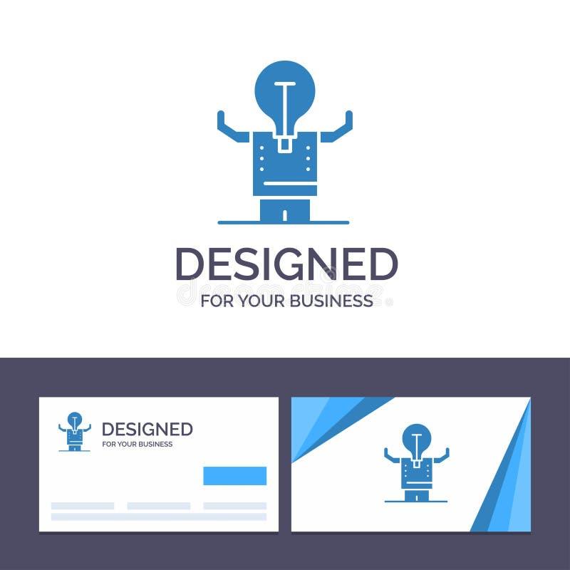 创造性的名片和商标模板事务,改善,人,人,潜在的传染媒介例证 库存例证