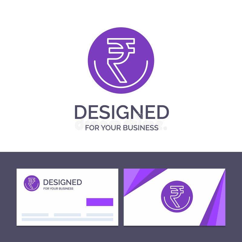 创造性的名片和商标模板事务,货币,财务,印度人,Inr,卢比,商业传染媒介例证 库存例证